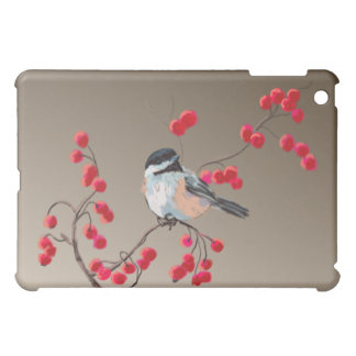 CHICKADEE & RED BERRIES by SHARON SHARPE iPad Mini Cases