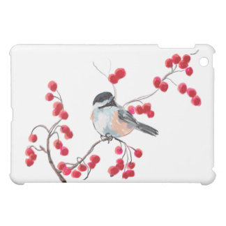 CHICKADEE & RED BERRIES by SHARON SHARPE iPad Mini Cover