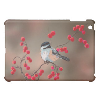CHICKADEE & RED BERRIES by SHARON SHARPE iPad Mini Covers