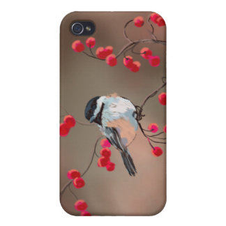 CHICKADEE & RED BERRIES by SHARON SHARPE iPhone 4/4S Cases
