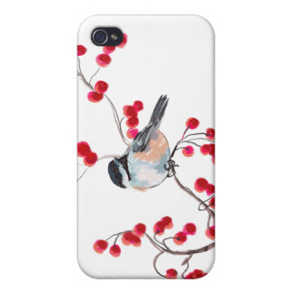 CHICKADEE & RED BERRIES by SHARON SHARPE iPhone 4 Cases