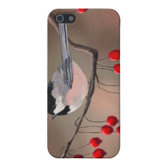 CHICKADEE & RED BERRIES by SHARON SHARPE iPhone SE/5/5s Case
