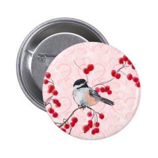 CHICKADEE & RED BERRIES by SHARON SHARPE Pinback Button
