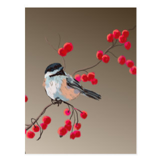 CHICKADEE & RED BERRIES by SHARON SHARPE Postcard