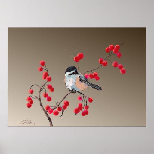 CHICKADEE & RED BERRIES by SHARON SHARPE Print