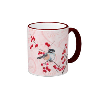 CHICKADEE & RED BERRIES by SHARON SHARPE Ringer Mug