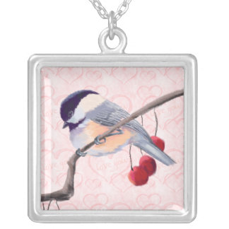 CHICKADEE & RED BERRIES by SHARON SHARPE Square Pendant Necklace