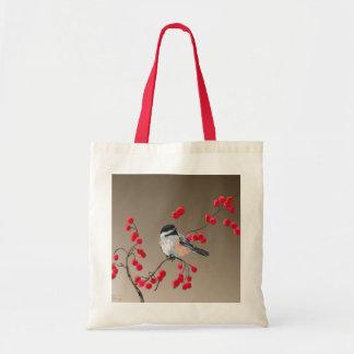 CHICKADEE & RED BERRIES by SHARON SHARPE Tote Bag