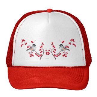 CHICKADEE & RED BERRIES by SHARON SHARPE Trucker Hat