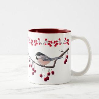 CHICKADEE & RED BERRIES by SHARON SHARPE Two-Tone Coffee Mug