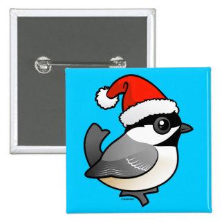 Chickadee Santa 2 Inch Square Button