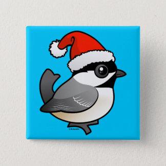 Chickadee Santa Button