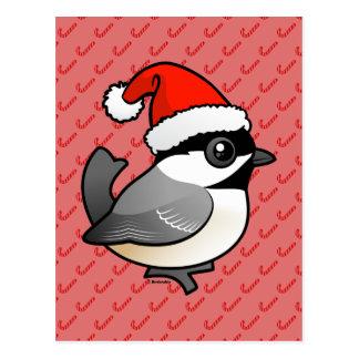 Chickadee Santa Postales