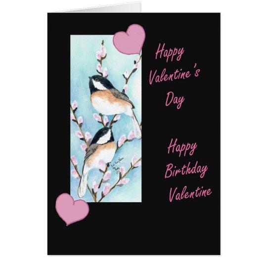 Chickadee Valentine Birthday Card Zazzle