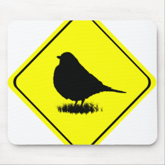 Chickadee Warning Sign Love Bird Watching Mouse Pad