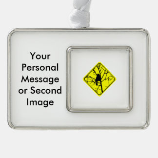 Chickadee Warning Sign Love Bird Watching Silver Plated Framed Ornament