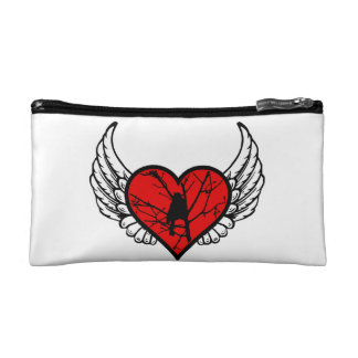 Chickadee Winged Heart Love Birds Silhouette Cosmetic Bag