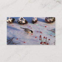 Chickadee Winter Bookmarks Business Card