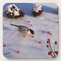 Chickadee Winter Cork Coasters