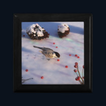 Chickadee Winter Jewelry Box