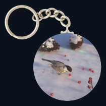 Chickadee Winter Keychain