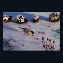 Chickadee Winter Print