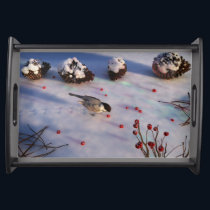 Chickadee Winter Serving Tray