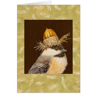 Chickadee with chinkapin acorn hat card