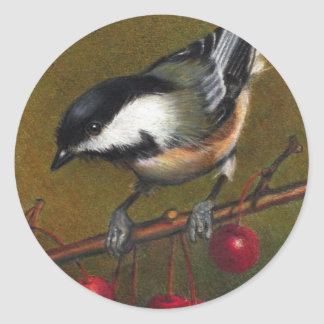 Chickadee with Crab Apples: Color Pencil Art Round Sticker
