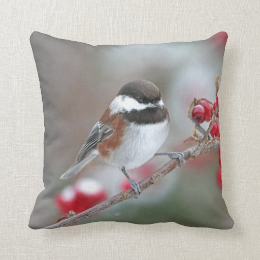 Chickadee with Falling Snow and Red Berries Throw Pillows