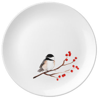 Chickadee with Red Berries - Single Branch Dinner Plate