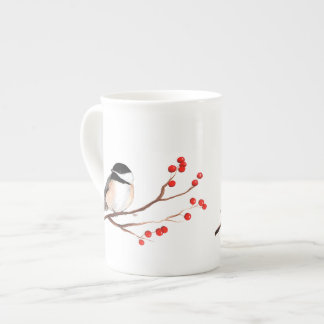 Chickadee with Red Berries - Single Branch Tea Cup