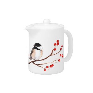 Chickadee with Red Berries - Single Branch Teapot