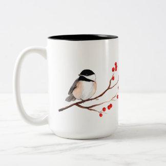 Chickadee with Red Berries - Single Branch Two-Tone Coffee Mug