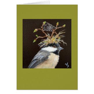 chickadee with web hat card