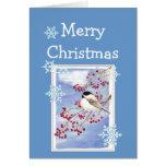 Chickadee y bayas de la acuarela de los deseos del tarjeta