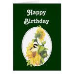 Chickadee y girasol de la acuarela del cumpleaños tarjetón