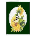 Chickadee y girasol de la acuarela del cumpleaños felicitación