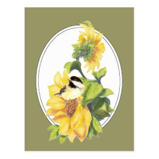 Chickadee y girasol originales de la acuarela postal