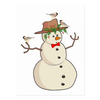 Chickadee y muñeco de nieve lindos, pájaros del in tarjeta postal