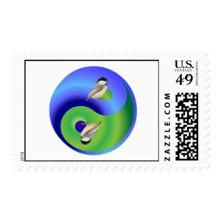 Chickadee Yin Yang Postage Stamps