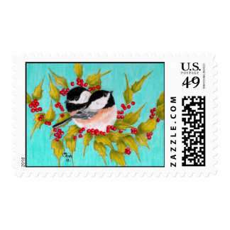Chickadees and Holly Postage Stamps