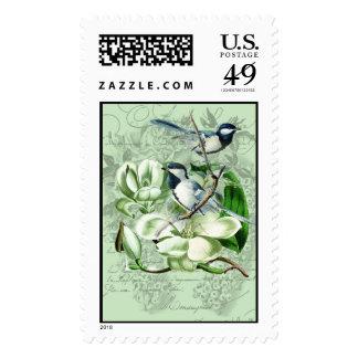 Chickadees and Magnolias Postage