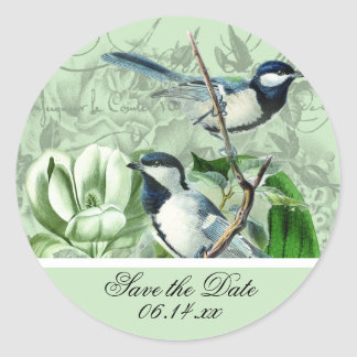 Chickadees and Magnolias Save the Date Stickers