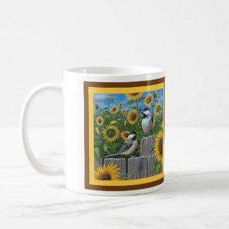 Chickadees and Sunflowers Coffee Mug