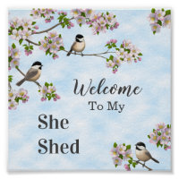 Chickadees & Apple Blossoms She Shed Personalize Poster
