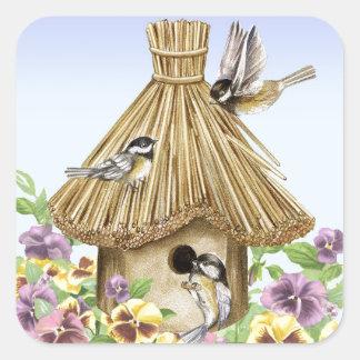 Chickadees Birdhouse Square Sticker