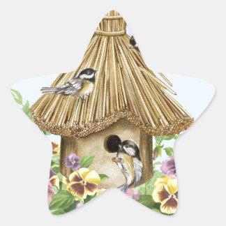Chickadees Birdhouse Star Sticker