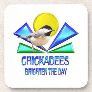 Chickadees Brighten the Day Beverage Coasters