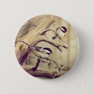 CHICKADEES by SHARON SHARPE Pinback Button